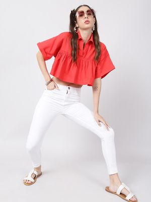Oxolloxo Coral Red Frilled Crop Top