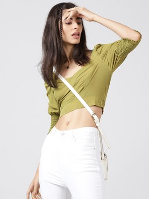 Oxolloxo Olive Green Meadow Crop Top