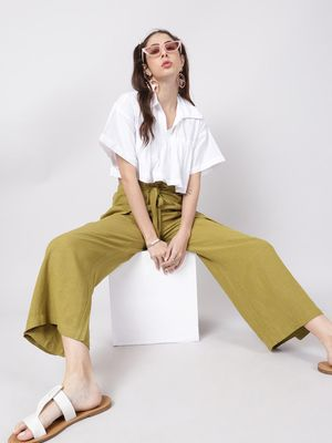 Oxolloxo Olive Green Solid Wrap Linen Blend Pants