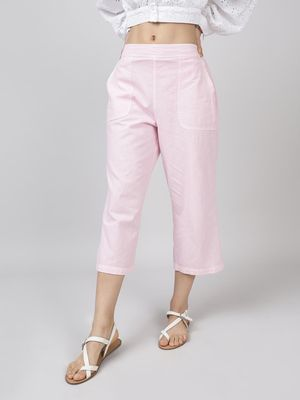 Oxolloxo Cotton Washed Culottes in Baby Pink