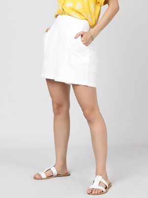Oxolloxo Cotton Washed Shorts  in White