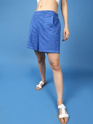Oxolloxo Cotton Washed Shorts  in Cobalt Blue