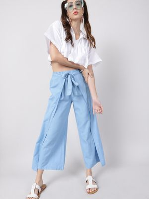 Oxolloxo Baby Blue Solid Linen Blend Wrap Pants
