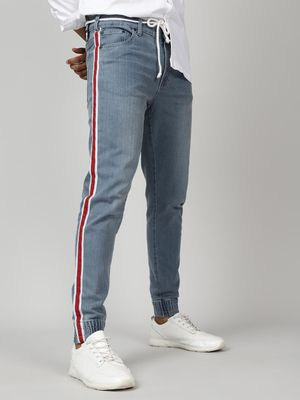 Kultprit Skinny Jogger Style Jeans With Contrast Tapes