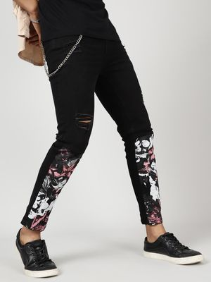 Kultprit Men's Black Jeans with White Printed Patches