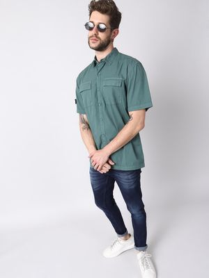 KOOVS Regular Collar Shirt With Printed Velcro Badge At Right Sleeve And Double Patch Pockets