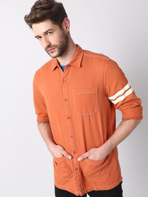 KOOVS Regular Collar Shirt With Contrast Stich Detail , Printed Stripe On Left Sleeve And Tripple Pockets