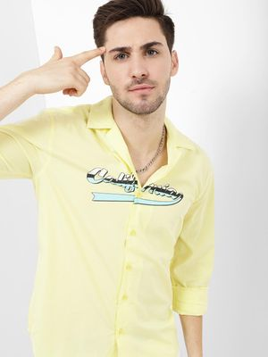KOOVS Reverse Collar Shirt With Print On Chest