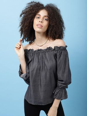 Scoup Chambray off shoulder full sleeves top