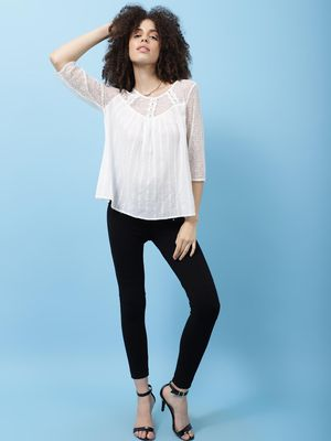 Scoup Mesh & Lace insert top