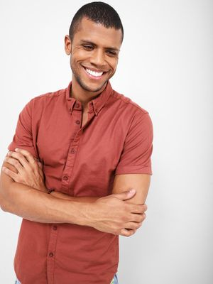 KOOVS Solid Button Down Collar Shirt, Rolled Up Sleeve
