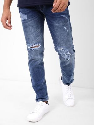 REALM Men's Blue Ripped Jeans