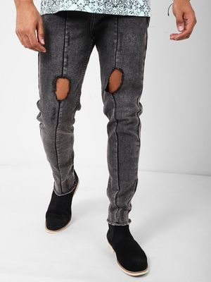 REALM Men's Acid Wash Ripped Skinny Jeans
