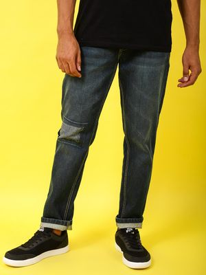 REALM Men's Slim Fit Denims with Patched Knee