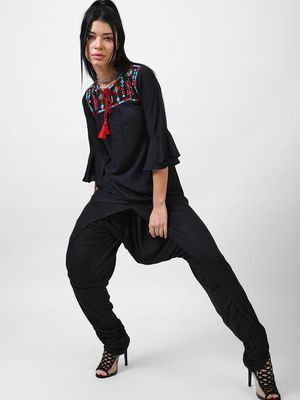 Bollywoo Solid rich black Embroidered top