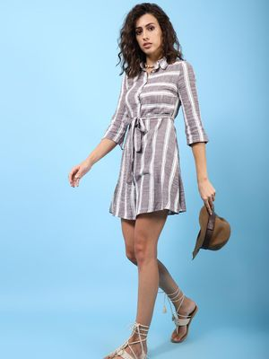Oxolloxo Taupe Striped Women's Button Down Tunic