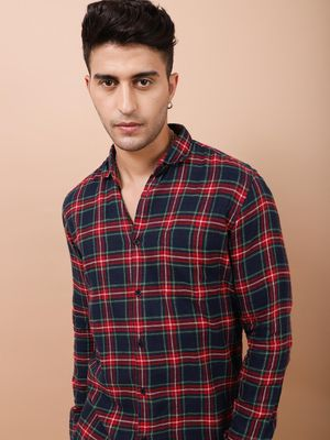 AMON Men's Black and Red Checkered Shirt