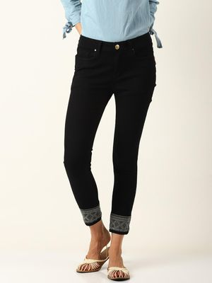 Blue Saint Women Black Skinny Fit Mid-Rise Clean Look Stretchable Jeans