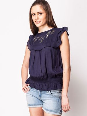 KOOVS Embellished Yoke Top