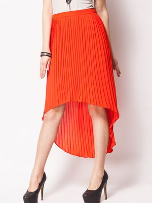 KOOVS Pleated Skirt With High-Low Hem