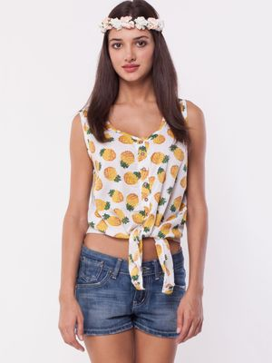 Brave Soul BRAVESOUL Pineapple Print Cropped Tie Front Top