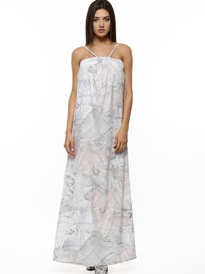 GILES AT KOOVS Feather Print Strappy Maxi Dress