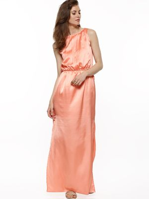 KOOVS Pleated Side-Slit Maxi Dress