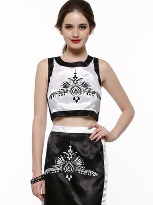 KOOVS Structured Embroided Crop Top
