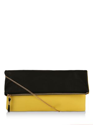 New Look Colour Block Fold-Over Clutch Bag