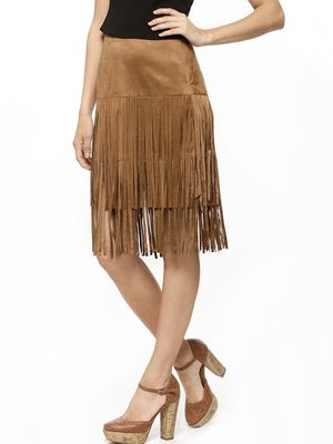 New Look Suedette Fringe Skirt