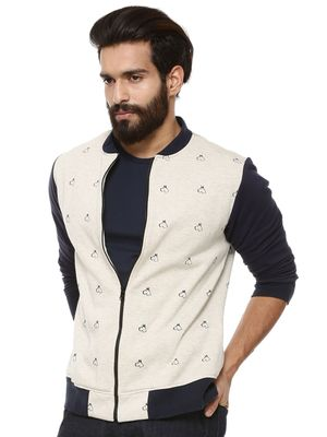 Mr Button Hound Motif Bomber Jacket With Contrast Sleeves