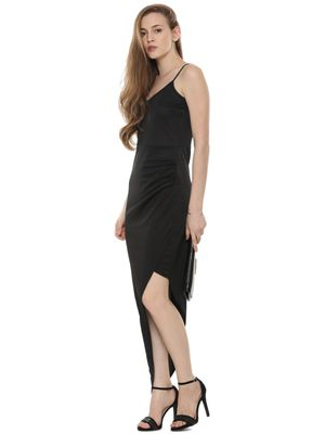 KOOVS Asymmetric Hem Ruched Side Dress In The Style Of Karlie Kloss