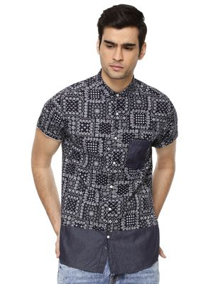 KOOVS Patch Work Print Denim Shirt