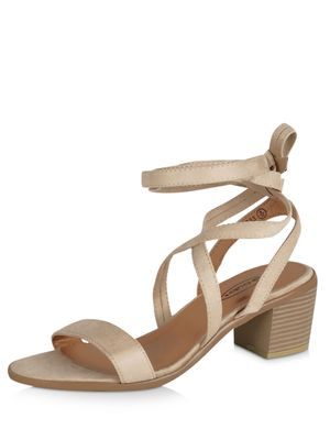 No Doubt Chunky Tie Up Heeled Sandals