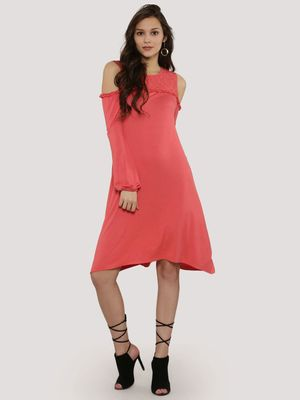 KOOVS Cold Shoulder Ruffle Swing Dress