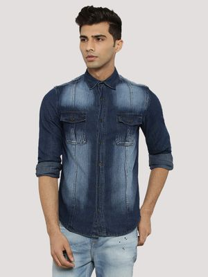 Atorse Washed Denim Shirt With Twin Pockets