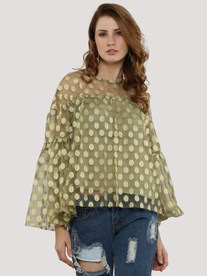 Rena Love Shimmer Spots Bell Sleeves Top