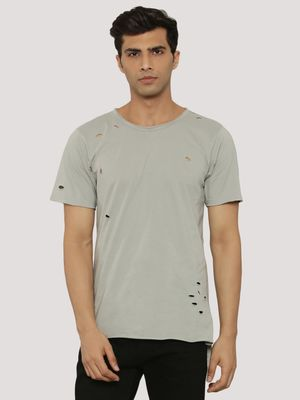 Adamo London Ripped T-Shirt With Raw Edges