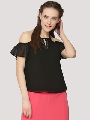 KOOVS Lace Keyhole Cold Shoulder Top