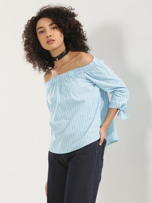 KOOVS Tie Sleeve Off Shoulder Top