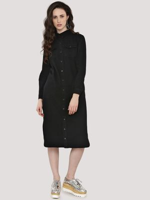 KOOVS Twin Pocket Denim Shirt Dress