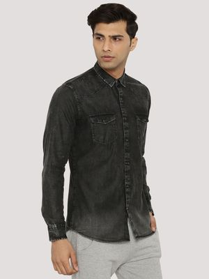 Adamo London Washed Denim Shirt With Twin Pockets