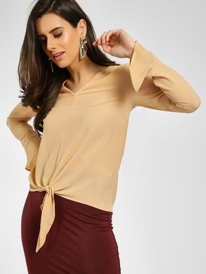KOOVS Textured Front Knot Blouse