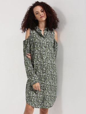 DISNEY X KOOVS Cold Shoulder Ditsy Printed Shirt Dress