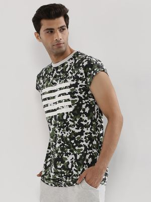 KOOVS Camo Cap Sleeve T-Shirt In The Style Of Brooklyn Beckham