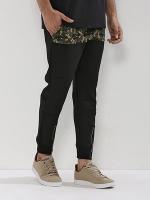 Adamo London Camo Panel Zippered Hem Joggers