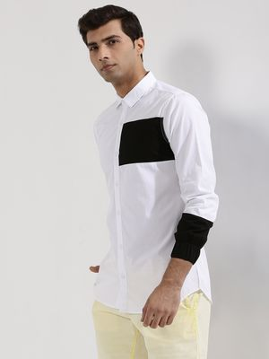 Adamo London Colour Block Shirt With Elasticated Cuff