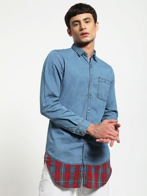 Adamo London Denim Longline Cut & Sew Shirt