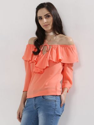 Femella Frill Detail Off Shoulder Top
