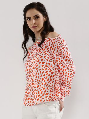 DANIELLA HELAYEL X KOOVS Printed Off Shoulder Top